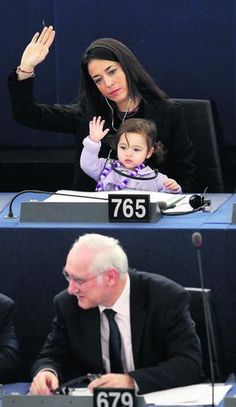 licia ronzulli-italian member of the european parliament. with her daughter at work. empowering women, empowering daughters