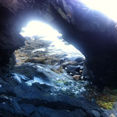 A natural rock tunnel ..#maine