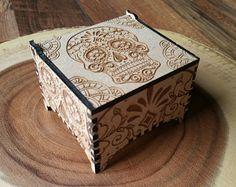 Giorno della casella gingillo morto / legno Trinket Box / legno Box / scatola del cranio / cranio / Halloween / messicano / Jewellery Box