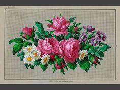 Mönster. För korssöm, tryckt på grått papper och handkolorerat (schablonmålat) Blommotiv, rosa, vitt, lila och grönt. JOURNAL DES DAMES & DES DEMOISELLES