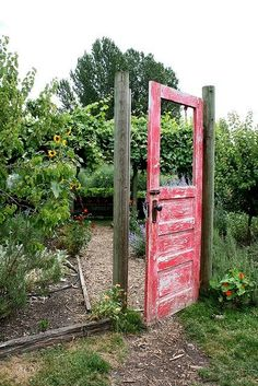A door to a garden -- a great reuse project (I'd probably add a fence though!)