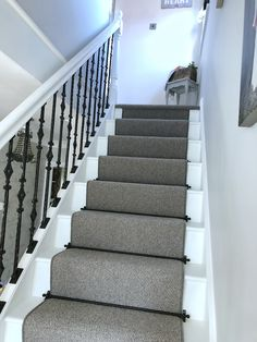 My new staircase! My new staircase! Painted in Farrow and Ball All White Black Stairs, White Staircase, New Staircase, Staircase Makeover, Staircase Design, Staircase Ideas, House Stairs, Carpet Stairs, Wall Carpet