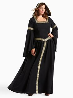 """<div>Ooh, witchy woman! You'll be casting spells on Halloween night with this dramatic witch costume. The black knit design recalls a pagan vibe with sweeping bell sleeves, and gold tone Celtic-inspired appliques trimming the dress and floppy hood.</div><div><br></div><div><b>Model is 5'9.5"""", size 1</b></div><div><ul><li style=""""LIST-STYLE-POSITION: outside !important; LIST-STYLE-TYPE: disc !important"""">Runs closer to smaller numerical size</li><li style=""""LIST-STYLE-POSITION: ..."""