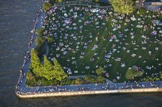 View of a crowded park on the 4th of July in New York City, USA