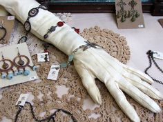 A vintage kidskin opera glove that I stuffed with tissue paper and pantyhose to use as a bracelet display. Part of my display from the Strawberry Swing Indie Craft Festival held on June & Art And Craft Shows, Craft Show Ideas, Diy Ideas, Jewellery Storage, Jewellery Display, Earring Display, Jewelry Organization, Craft Fair Displays, Display Ideas