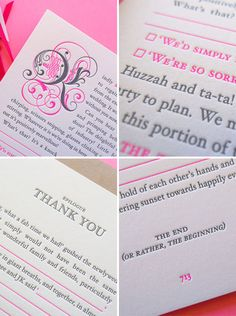 Neon Pink & Charcoal Gray Storybook Wedding Invites by The Hungry Workshop - Are you KIDDING me? These are FAB!