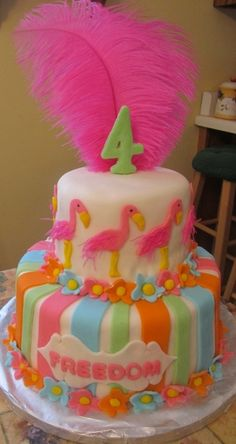 Pink Flamingo Cake By BSR on CakeCentral.com