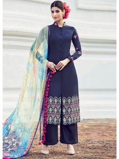 Blue Colour Cotton Satin Palazzo Style Suit