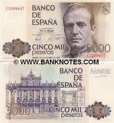 Spain 5000 Pesetas 1979 Front: King Don Juan Carlos I; flower of lily, symbol… Money Template, Spanish Royalty, Coins Worth Money, Coin Worth, Don Juan, Retro Ads, Need Money, Dramatic Play, How To Get Rich