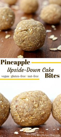 Pineapple Upside-Down Cake Bites from Healthy Helper Blog...fruity, tropical snack bites that are vegan, gluten-free, and taste like cookie dough! No added sugars or nuts. A high carb, low fat vegan delight. http://healthyhelperblog.com: