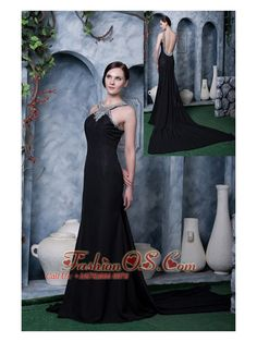 Brand New Black Column Scoop Watteau Train Chiffon Beading Little Black Dress- $139.89  http://www.fashionos.com   prom dress with beading |