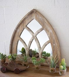 Kalalou Short Church Mirror in Wood, Rustic/Lodge Rustic Country Furniture, Rustic Decor, Farmhouse Decor, Modern Farmhouse, Farmhouse Style, Farmhouse Mirrors, Antique Farmhouse, Farmhouse Lighting, Modern Rustic