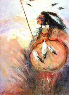 """""""Chief Warrior"""" - Original Fine Art for Sale - © Barbara Lemley"""