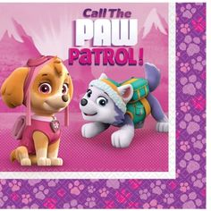 Pink PAW Patrol Lunch Napkins feature Skye and Everest on a pink mountain background with a purple paw-print border. These paper napkins are perfect for a PAW Patrol birthday party! Paw Patrol Party Supplies, Unicorn Party Supplies, Kids Party Supplies, Paw Patrol Birthday, Party Napkins, Pink Parties, Halloween, Mini, Party Ideas