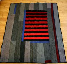 Upcycled  Wool Throw Blanket from TexturesGallery on etsy