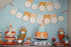 Aqua and Orange Chevron