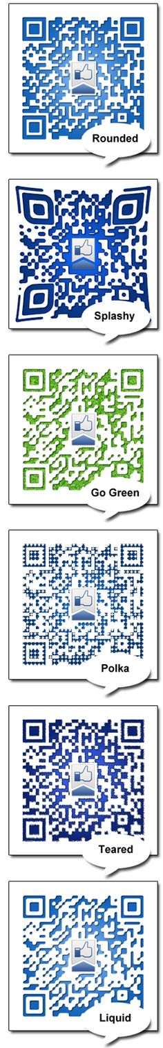Social Media QR codes 6 styles to help increase your social media marketing.