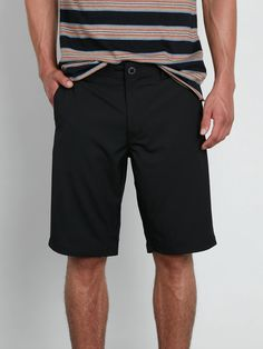 HTOOHTOOH Mens Flat Front Elastic Waist Tactical Twill Summer Shorts with Drawstring