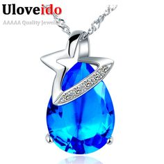 Find More Pendant Necklaces Information about N823 925 Sterling Silver Necklace CZ Zircon Wholesale Women Fashion Blue/Red/Purple Water Drop Crystal Hollow Star Uloveido N823,High Quality necklace paper,China fashionable coats Suppliers, Cheap fashion bib necklace from ULove Fashion Jewelry Store on Aliexpress.com