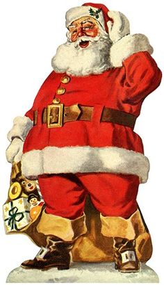 Santa wishes you and yours a very Merry Christmas by SAburns Vintage Christmas Images, Christmas Scenes, Merry Christmas And Happy New Year, Father Christmas, Retro Christmas, Santa Christmas, Christmas Time, Christmas Mantles, Christmas Villages