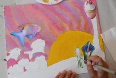 Cool surrealist paintings made by collaging random images onto a canvas and painting to incorporate them into landscape.  Drawing and Painting Class Wednesdays at Engage Art Studio in Skippack PA.