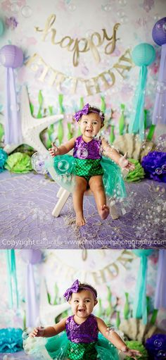 Mermaid cake smash, under the sea first birthday, teal and purple color theme. 1st Birthday Pictures, First Birthday Themes, Baby Girl 1st Birthday, First Birthdays, Birthday Ideas, Happy Birthday Flower, Mermaid Theme Birthday, Little Mermaid Birthday, Purple Birthday