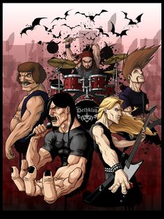 Metalocalypse, follows the band Deathklok around as they demolish their fans, fun 15 min episodes on late
