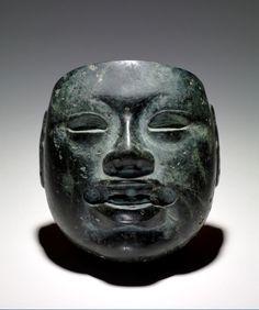 Olmec stone mask.