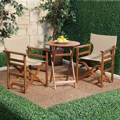 Have to have it. Outdoor Directors Chair Wood Bistro Set - Khaki $149.98