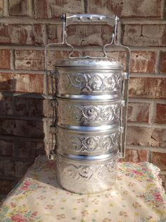 """Aluminum unmarked """"tiffin"""" Food Carrier Thai Monk Lunch Box - 4 Tier Carrier  on Etsy, $24.95"""