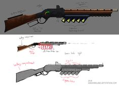 Initially started as part of the Wild West challenge, I was unable to complete in time. I attempted to turn a traditional winchester rifle into a potentially working railgun (coilgun). Fallout Weapons, Sci Fi Weapons, Weapon Concept Art, Fantasy Weapons, Steampunk Weapons, Game Dev, Cool Guns, Dieselpunk, Steam Punk