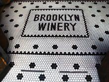 Wine Bar Tile Entry by Brooklyn Winery Hotel Restaurant, Restaurant Design, Hexagon Tiles, Mosaic Tiles, Entry Tile, Tile Entryway, Wine Bar Design, Penny Tile Floors, Mosaic Floors