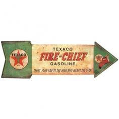 Texaco Fire-Chief Gasoline - Trust your car to the man who wears the star! Petro - Oil & Gas #TinSign