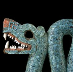 Double-headed serpent turquoise mosaic, 15th-16th century AD, Mexico. Carved in wood (Cedrela odorata) and covered with turquoise mosaic. (detail)