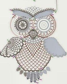 Crochet owl pattern by tasamajamarina Owl Crochet Patterns, Crochet Owls, Owl Patterns, Crochet Chart, Thread Crochet, Crochet Motif, Crochet Doilies, Crochet Flowers, Crochet Stitches
