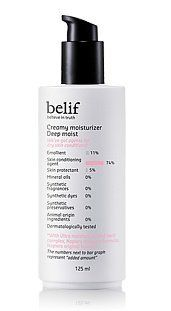 KOREAN COSMETICS, LG Household & Health Care_ belif, Creamy Moisturizer Deep Moist 125ml (for dry skin types, highly moisturizing)[001KR] by belif. $80.00. Item location : Korea and we ship to worldwide. Note to the first users : If you have  not used this item before, try the cosmetic with small amount on your skin. If you find any trouble with the product, please stop using and discuss with your skin expert or doctor. If you have any allergy or trouble with the i...