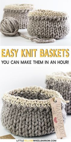 Free DIY Basket Pattern you can Knit up in a Flash Cute DIY baskets you can knit up quick and easy. This simple craft project requires a single skein of yarn and requires only basic knitting knowledge. A perfect knitting project for beginners. Knit up a Easy Knitting Projects, Yarn Projects, Knitting Designs, Knitting Patterns Free, Free Knitting, Crochet Projects, Start Knitting, Sock Knitting, Knitting Tutorials