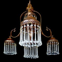 Vintage French 5 Light Art-Nouveau/Deco Long Crystal Teardrop Cascade Chandelier #French