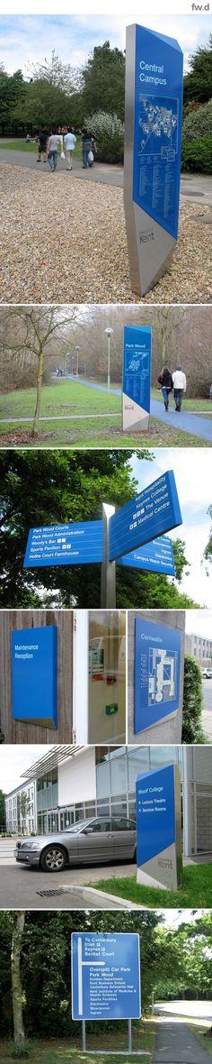 University of Kent campus wayfinding & signage design by fwdesign… Environmental Graphic Design, Environmental Graphics, Park Signage, Navigation Design, Wayfinding Signs, Monument Signs, Sign System, Exterior Signage, Outdoor Signage