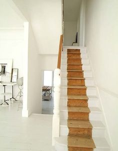 It's never easy to try and come up with cool ways to optimize your stairs and make them cooler. Here are best painted stairs ideas for you new home Black Painted Stairs, White Stairs, White Hallway, Painted Staircases, Spiral Staircases, Painting Carpet, Oak Trim, Wooden Stairs, Stairway To Heaven