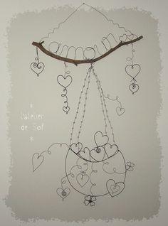 décoration murale en fil de fer paix et amour by latelierdesof