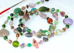 Multicolored Gemstone Beaded Eyeglass Lanyard/ID Badge, Key or Name Tag Lanyard by nonie615, $25.00