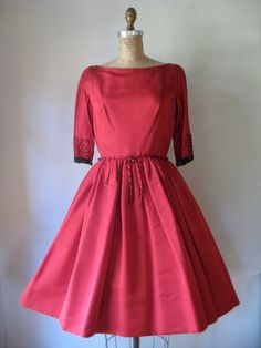 Vintage 1950s Charles Cooper red silk nipped waist full skirt dress with black fringe beads