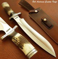 Bill Anderson's RARE CUSTOM MASSIVE BIG SASQUATCH BOWIE KNIFE | STAG ANTLER