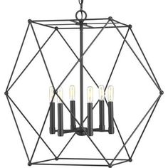 Spatial showcases a modern form that complements Urban Industrial and Bohemian styles. Overscaled geometric frames feature designs inspired by metal trusses and the art of engineering. A Matte Black finish is highlighted by clear globe shades or open candles. Chandelier and pendant options are ideal for foyers and entryways, while vanity fixtures complement modern spa-like bath suites. #chandelier #industrialstyle