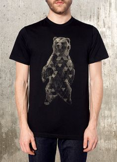 Grizzly Bear and Triangles Discharge Printed T-Shirt - Men's Graphic Tee - American Apparel - Available in S, M, L, XL and 2XL