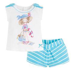Conjunto de camiseta y short de rayas Azules - Mayoral