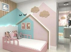 Gorgeous kids bedroom with houses on the wall Kids Bedroom Paint, Baby Bedroom, Baby Room Decor, Girls Bedroom, Bedroom Decor, Trendy Bedroom, Toddler Rooms, Toddler Girl, Girl Bedroom Designs