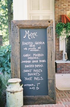 Use an old chalkboard to write the dinner menu when having guests over. #dining
