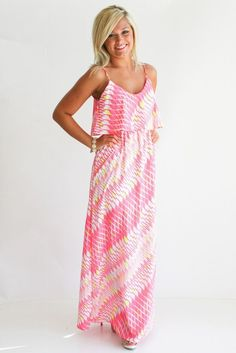 Thin strap pink maxi dress fashion.... click on picture to see more